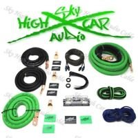 OFC 1/0 Ga AWG Amp Kit and 1/0 GA Big 3 Upgrade Green Black Sky High Car Audio