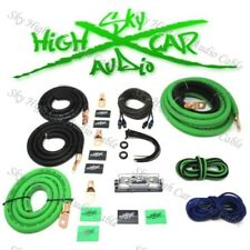 1/0 Ga AWG Amp Kit and 1/0 GA Big 3 Upgrade Green Black Sky High Car Audio
