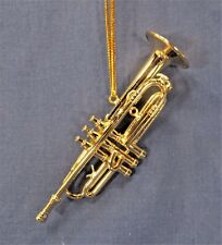 Gold Trumpet Ornament Musical Instrument Collectible Holiday Home Decor