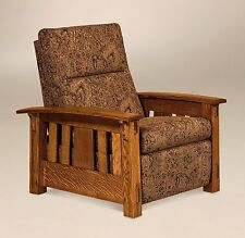 Amish Mission Arts and Crafts Recliner Chair McCoy Wall Hugger Upholstered Tenon