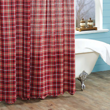 BRAXTON Scalloped Shower Curtain Plaid Red/Ebony Americana Farmhouse 72x72
