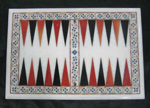 """18"""" x 12"""" Marble Backgammon Game Table Top Inlay Home Decor"""