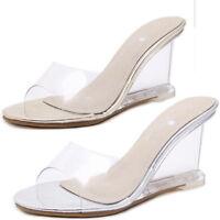 Ladies Women Peep Toe High Heel Wedge Clear Slides Mules Sandals Slip on Shoes
