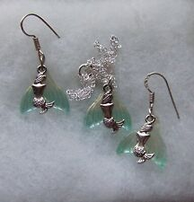 MERMAIDS AND GLASS TAILS EARRINGS AND PENDANT SET