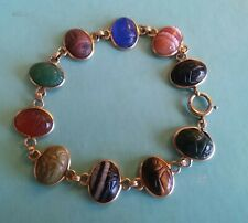 "14k Y.Gold Scarab Bracelet with Multi Colored Carved Hard Stones, 8""Long (C21)"