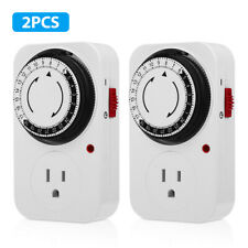 24-Hour Plug in Mechanical Programmable Electric Outlet Timer Grounded USA