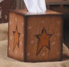 Primitive Square Tissue Box Cover Holder Star With Decorative Stars