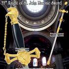 "33"" Templar Crusader Knight of St. John Masonic Ceremonial Sword GD Black Handle for sale"