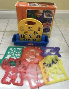 LITTLE TIKES STENCIL-A-CARD SET CADDY with 6 STENCIKS 1994 IN BOX!