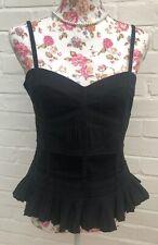 Reiss Corset Top Black UK Size 12 Strappy Steampunk Victorian Evening Cotton