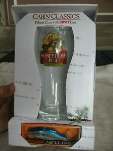 Rattlin Rapala Cabin Classics Honey Hole Pub Pilsner Beer Glass and NEW LURE
