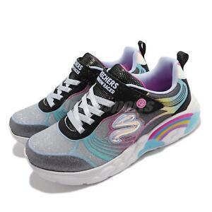 Skechers S Lights-Rainbow Racer-NOVA BLITZ Black Grey Kid Preschool 302309-LBKMT