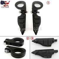 """Black 1.5"""" Highway Foot Pegs Rest Mount Clamps Universal For Harley-Davidson US"""