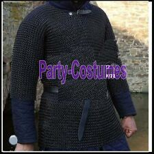 Butted Chain Mail Shirt Black Large SCA Medieval Chainmail Hauberk Armor Costume