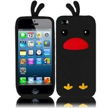 For iPhone 5 5S SE Rubber SILICONE Soft Gel Skin Case Phone Cover Black Duck