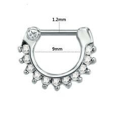 Surgical Steel Septum Clicker Nose Piercing Rings Hanger Hoop Circle CZ Gift UK