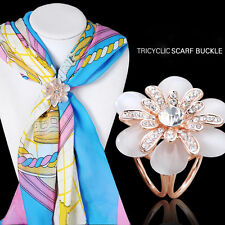 Women's Camellia Flower Crystal Opal Shawl Scarf Ring Buckle Tricyclic Brooches