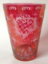 Czech Bohemian Cranberry Ruby Flash Glass Vase Cut To Clear Deer Stag Castle