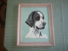 """Framed English Setter(?) Needle Punch Embroidery Wall Hanging-13 1/2"""" x 16 1/2"""""""