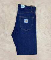 Carhartt Wip Newel Pant Indigo Blue Dark Jeans Denim Rinsed relaxed tapered cut