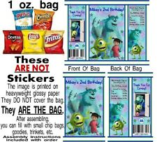 12 Monsters Inc. Birthday Party Baby Shower Chip Bags Favor Treat Sully Mike Boo