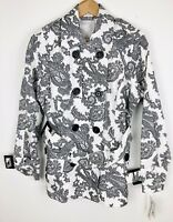 Pendleton Womens Trench Coat Jacket Belted White Paisley Cotton Size 10 NWT $188