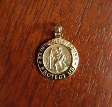 """14K SOLID GOLD SMALL SAINT ST CHRISTOPHER MEDAL CHARM PENDANT  - 0.9"""" INCH"""