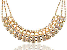 Fahsion Rhinestone Golden Tone Chain Necklace With Locking Clasp Costume Jewlery