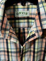 Orvis Men's Plaid Short Sleeve Shirt Navy Peach Yellow Size Large Cotton