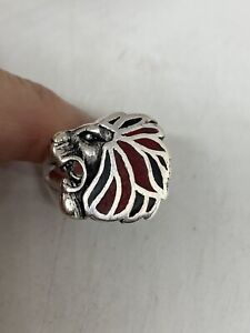 Vintage Southwestern Leo Lion Ring Silver White Bronze Inlay Red Coral And Onyx