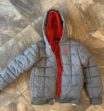 Jordan Nike Grey Red Full ZIP Hooded Winter Jacket Youth Large Thermafit