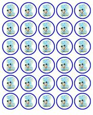 """MICKEY MOUSE 1ST BIRTHDAY 30 1.5"""" ROUND (35mm) EDIBLE WAFER PAPER CUPCAKE TOPPER"""
