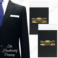2 x White Straight Pre-Folded Pocket Square Handkerchief Card Holder Suit Jacket