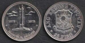 1978 Manuel L Quezon Monument 25 pesos BSP Commemorative Silver Coin #A3