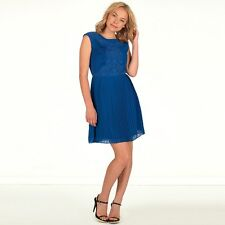 NEW $295 Ted Baker Saskiah Stunning Lace Pleated Dress Blue Size 2 (Ted 0)