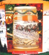 NEW Budweiser Holiday Beer Stein - 1996 American Homestead