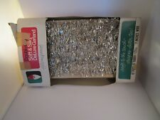 Vintage Double Glo Flameproof Nos Silver Tinsel Garland Christmas Tree