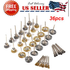36pcs Wire Steel Brass Brushes Polishing Brush Wheels Set for Dremel Rotary US