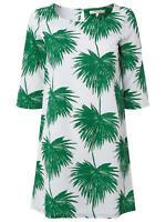EX White Stuff White Green Floral Round neck 3/4 Sleeve Blouse Tunic Top 8 10 12