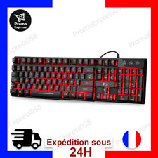 Clavier Pro Gamer AZERTY Mecanique RetroEclaire 3 Couleurs PC Ordi Windows Mac