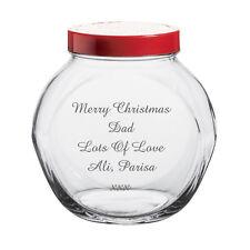 Personalised Engraved glass cookie biscuit sweetie jar Bridesmaid gift mum dad