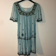 Temperley London Embroidered Details Cotton Short Sleeve Dress Silk Lining Small