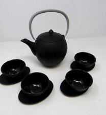 Teavana Cast Iron Black Tea Set Kettle Cups Saucers