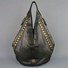 GIVENCHY Black Leather Gold Studded TINHAN Large Hobo Bag