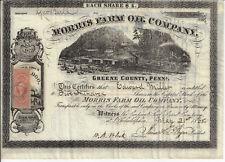 PENNSYLVANIA 1865 Morris Farm Oil Company Stock Certificate Greene County