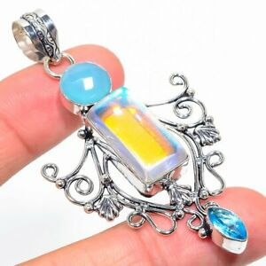 "Fire Mystic, Blue Topaz Gemstone 925 Sterling Silver Jewelry Pendant 2.84"""
