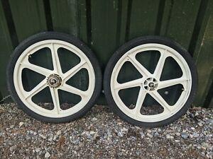 """Skyway old school Bmx Tuff Mag Wheels 20"""" retro 6 spoke white"""