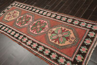 """3'8"""" x 8'11"""" Hand Knotted 100% Wool Antique Caucasian Runner Area Rug Rust"""