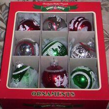 Radko Shiny Brite Christmas Glass Ornaments Flocked Box of 9 Unopened