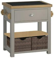 Padstow Grey Kitchen Island / Solid Wood Painted Small Kitchen Island / Granite